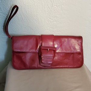 HOBO INTERNATIONAL BURGUNDY LEATHER CLUTCH